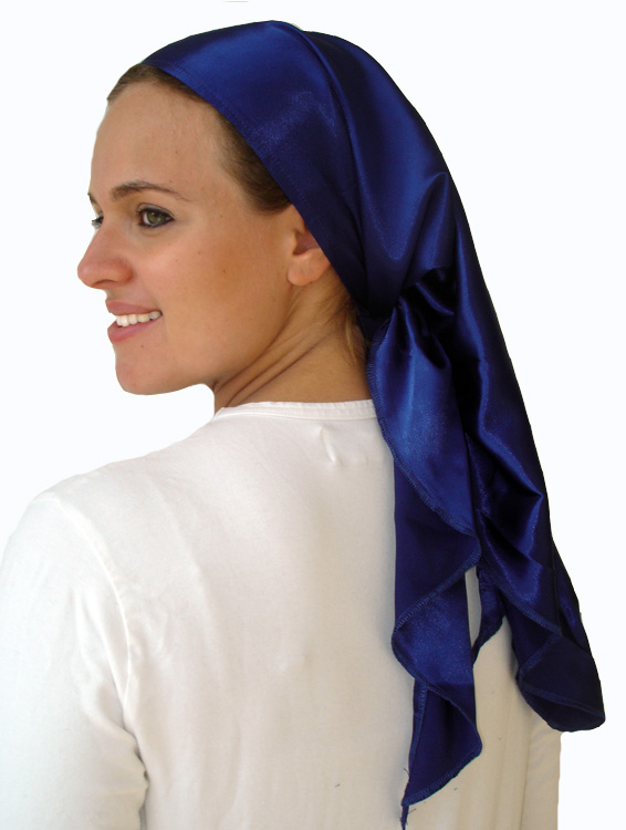 Satin triangular scarf with ruffled trim